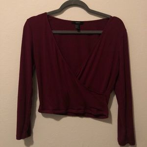 Forever 21 Red Wrap Crop Top
